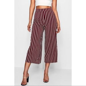 Boohoo Berry Striped High Waisted Wide Leg Pants